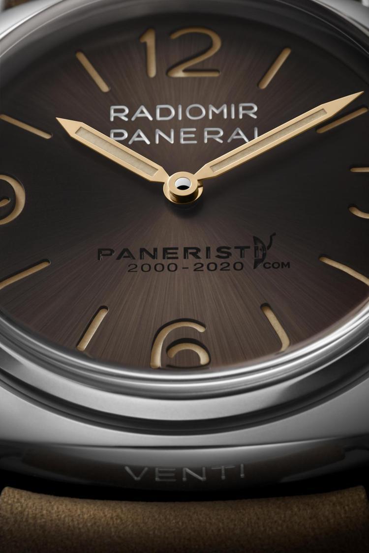 表面六點鐘方向字樣卻帶有Luminor系列護橋式表冠的圖像,是為了紀念Paner...