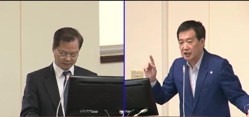 國民黨立委費鴻泰(右)上午針對國發基金投資東貝光電案質詢國發會主委龔明鑫(左)。圖/截自立法院直播畫面