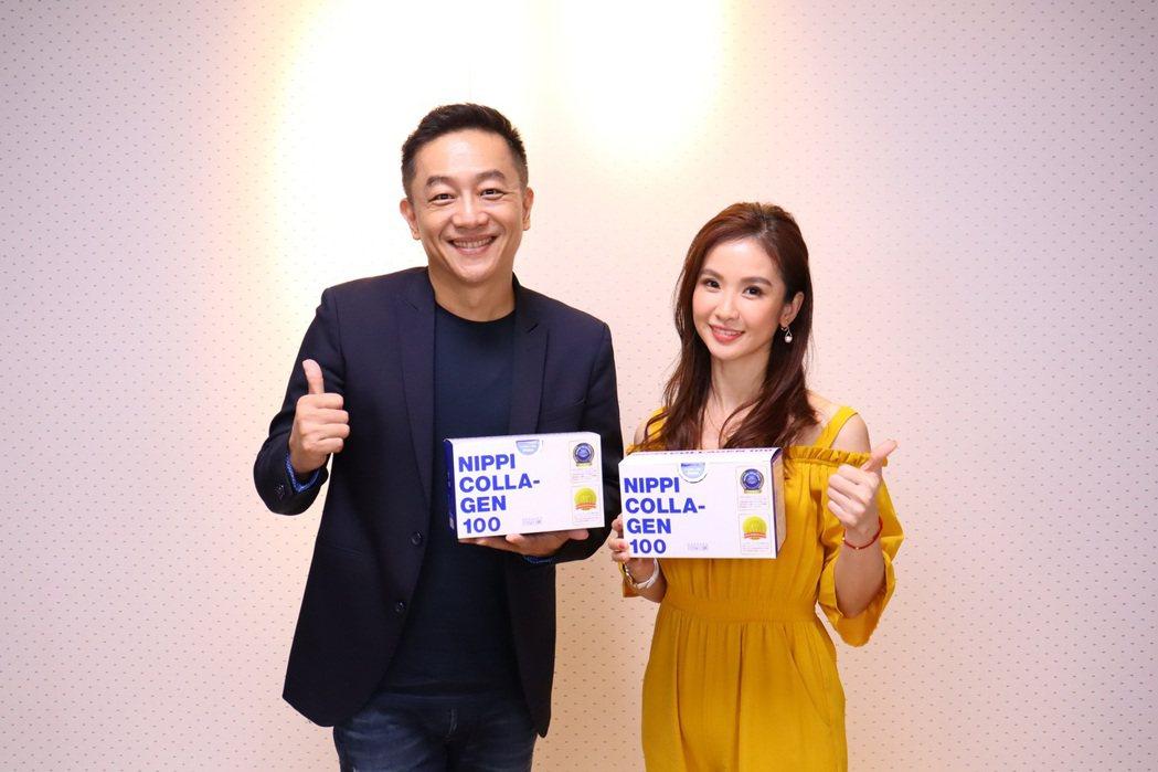 陳小菁(右)超級愛吃陳昭榮代理的膠原蛋白粉。 圖/翰成數位提供