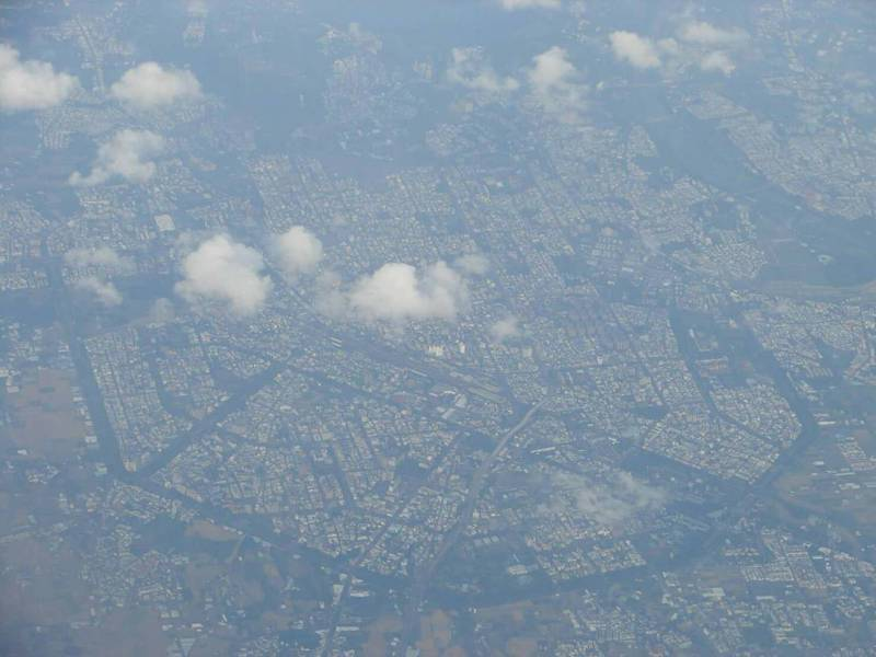 從飛機上鳥瞰嘉義市,竟然出現八卦形狀圖,令人驚豔。圖/張其錚提供