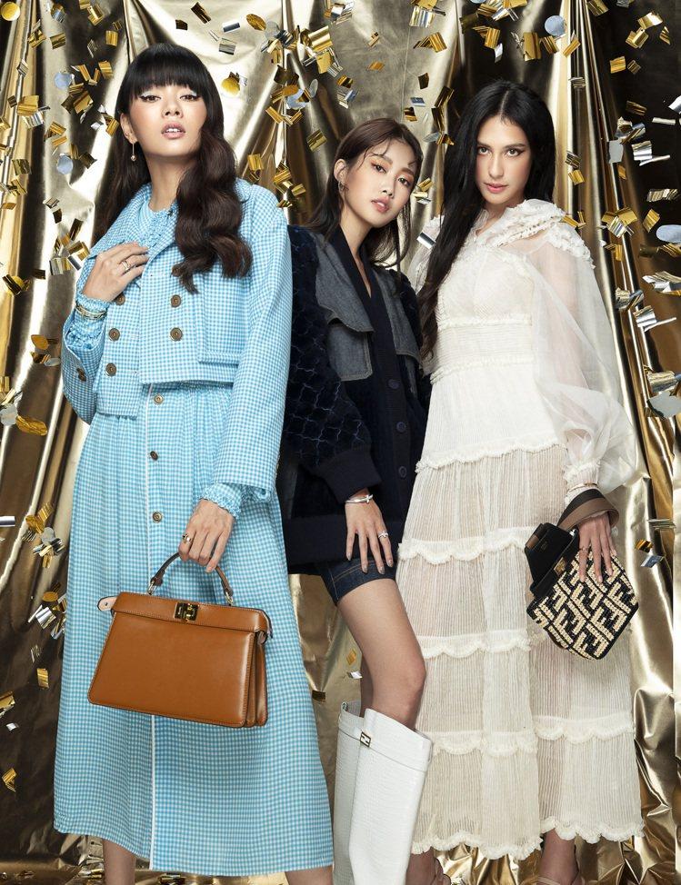 微風女郎(左起)郭源元、宋蘋恩、佟凱玲以FENDI、Tiffany & Co.搭...