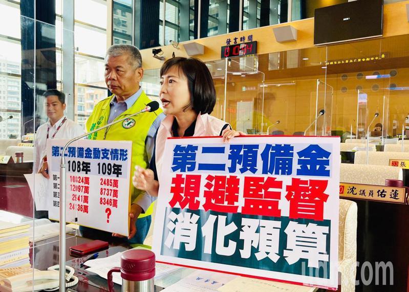 台中市議員陳淑華、蕭隆澤要求市府落實財政紀律,不要有消化預算的心態。記者陳秋雲/攝影