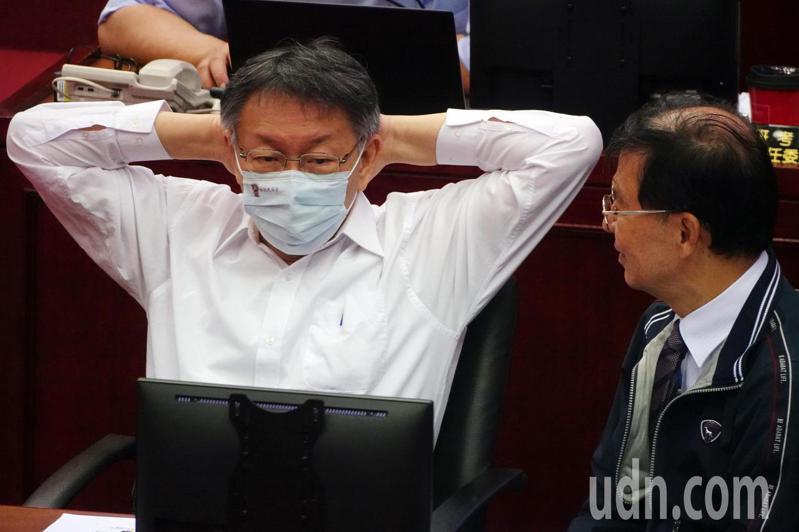 台北市長柯文哲下午赴議會報告110年度施政計畫及台北市總預算案 。記者曾吉松/攝影