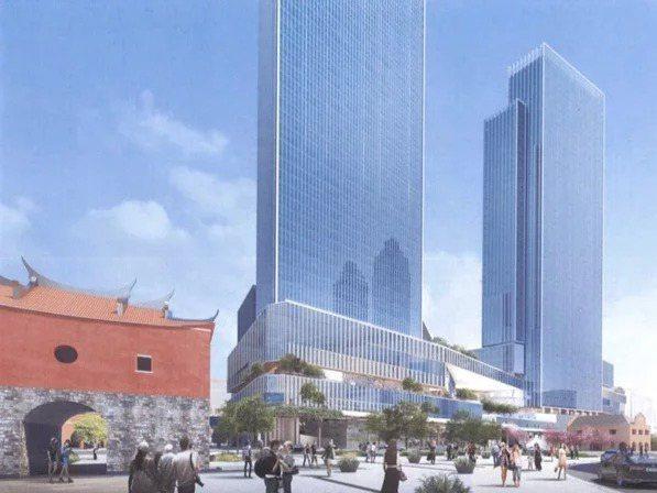 台北市政府雙子星大樓建案模擬圖,文資委員憂心影響古蹟。圖/王俊雄提供