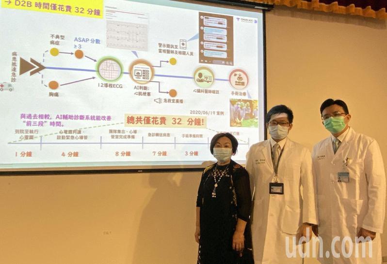 64歲陳姓婦人(左)經由中國附醫新建置完成的AI系統判讀,查出陳婦為心肌梗塞,救了她一命,陳婦今天現身說法,並感謝醫師陳科維(中)、許凱程(右)救治。記者趙容萱/攝影