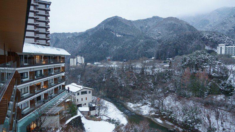鬼怒川金谷飯店的每個房間都可眺望鬼怒川的溪谷景色。圖/梁旅珠提供