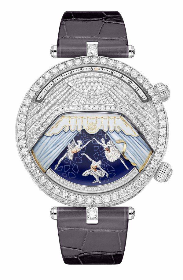 Lady Arpels Ballerine Musicale Diamant腕表,44.5毫米白K金鑲鑽、雕刻白K金、鑽石及微繪表盤、手上鍊機芯搭載逆跳時間顯示、按需啟動音樂動畫,獨立編號版,1,390萬元。圖/梵克雅寶提供