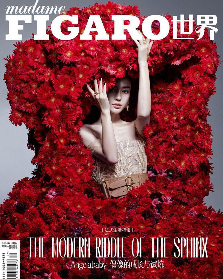 封面的豔紅花卉中,Angelababy選穿DIOR 2021早春系列。圖/取自I...