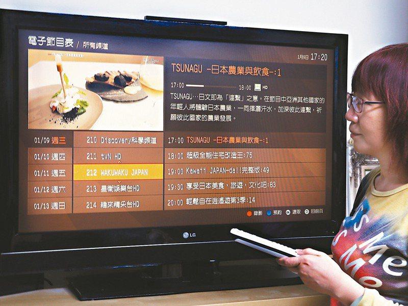 目前有線電視中,能從系統台業者分潤的頻道集中在第20到80頻道的「240元俱樂部」,新進業者搶不到位置,造成「萬年頻道表」情形。圖/聯合報系資料照片