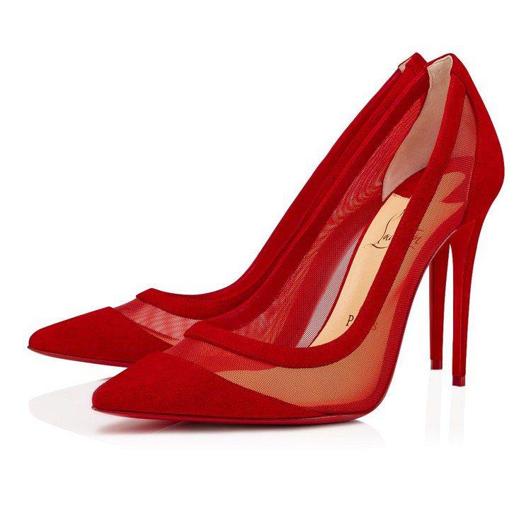 Galativi紅色網紗拼接小牛皮高跟鞋,28,300元。圖/Christian...