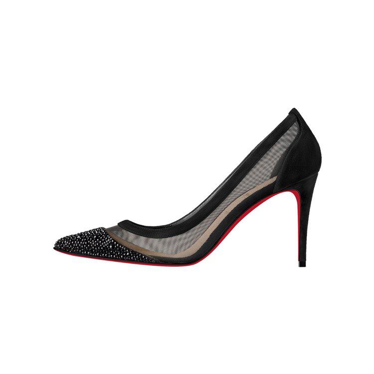 Galativi黑色網紗拼接絲絨高跟鞋,27,300元。圖/Christian ...