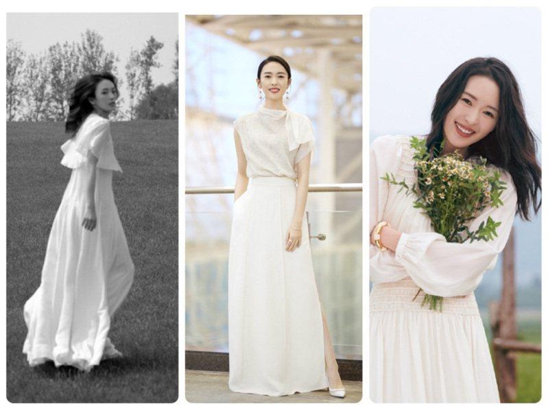 童瑶擅長駕馭各式白色洋裝,氣質清新宛如當代小龍女。圖/取自微博、Christian Louboutin提供