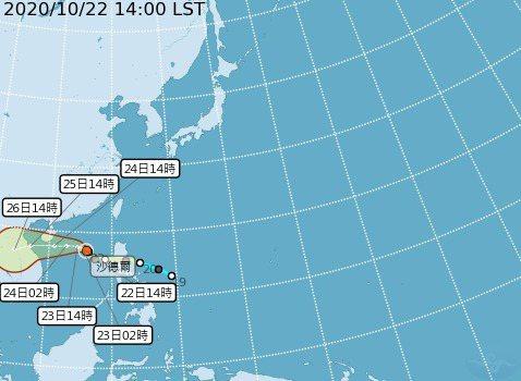 沙德爾升級成中颱。圖/取自中央氣象局