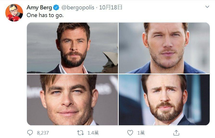 好萊塢4位最紅的「克里斯」比一比,本來只是好玩,卻造成輿論風暴。圖/摘自twit...