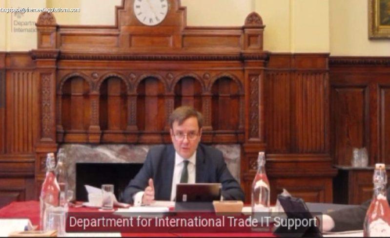 英國國貿部副部長韓斯(Greg Hands)以視訊方式和經濟部次長陳正祺共同主持第23屆台英經貿對話會議。圖/取自英國在台辦事處臉書