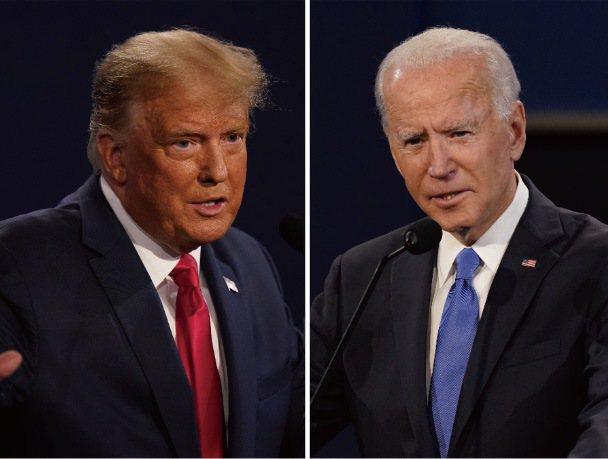 美國總統川普(左)與民主黨總統候選人拜登(右),於台灣時間23日早上完成最後一場辯論,失業率成為辯論焦點。美聯社