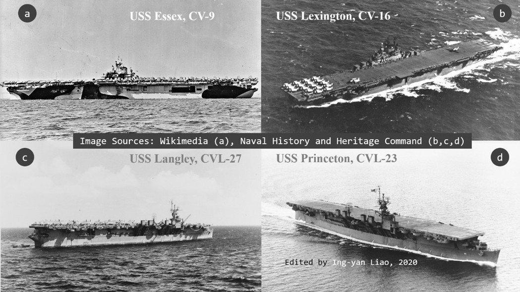 1944年10月臺灣沖航空戰期間,美軍第38.3支隊負責掃蕩中臺灣與外島澎湖。支隊所屬的四艘航艦如上圖。  圖/取自維基共享Naval History and Heritage Command