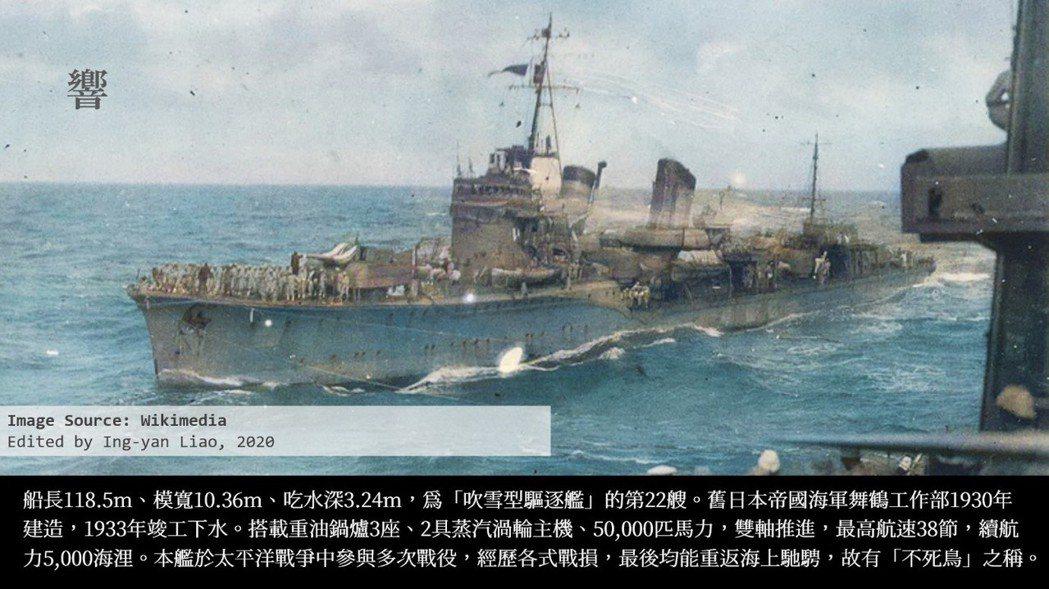 1944/10/12、13日美軍空襲時幸免於難的「響」驅逐艦。 影像編修/廖英雁