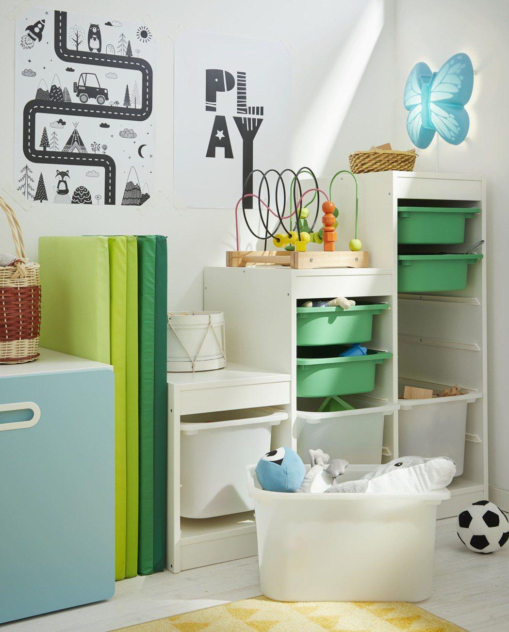 「TROFAST兒童收納櫃」能依照不同時期需求組合且方便孩子使用。除了家具材料安...