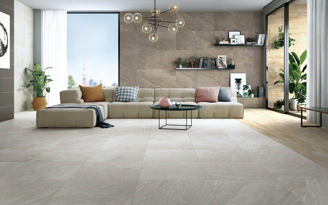 豐富的色調與多變的紋理變化,易於空間運用與搭配。冠軍磁磚/提供