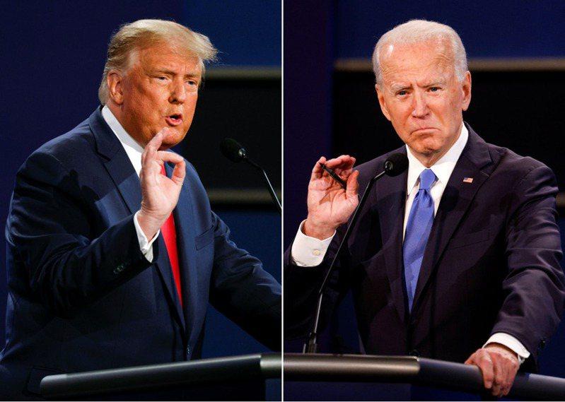 美國大選再過7天就投開票了,拜登(右)、川普(左)究竟誰會勝出?路透社