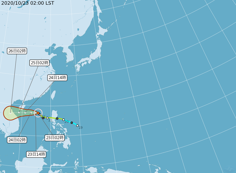 沙德爾颱風因其北方高壓增強而轉偏西,朝海南島南方近海前進。圖/取自氣象局網站