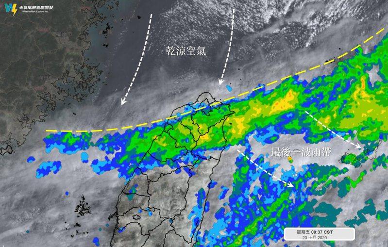 北方的乾空氣正在南下,把雲雨帶逐漸向南推離。圖/取自「天氣風險 WeatherRisk」