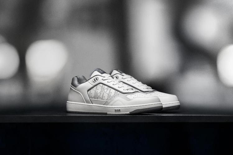 B27白色光滑小牛皮與DIOR Oblique Galaxy雕紋低筒休閒鞋,32...