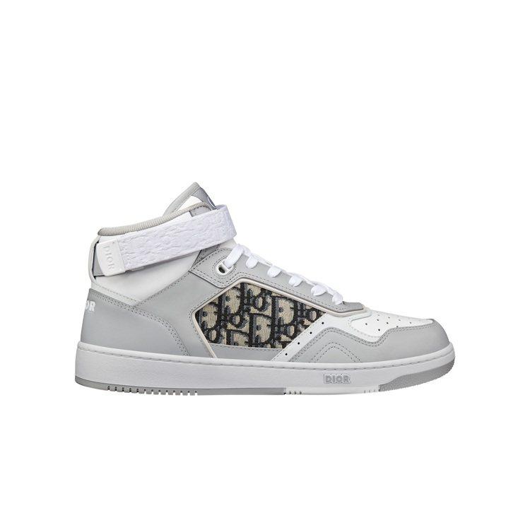 B27灰白光滑小牛皮與DIOR Oblique緹花中筒休閒鞋,37,000元。圖...