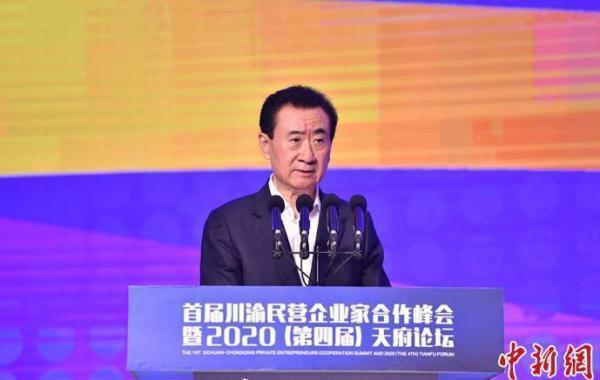 大連萬達集團董事長王健林在「2020天府論壇」上演講。中新網