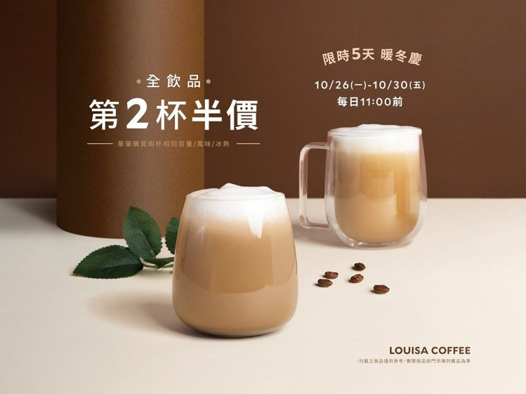 路易莎10月26日起連續5日推出暖冬慶,早上11點前全飲品第二杯半價優惠。圖/路...