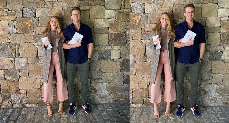 布蕾克萊佛莉與萊恩雷諾斯各自發布相同的照片,但布蕾克自己後製「穿上鞋子」(左),...