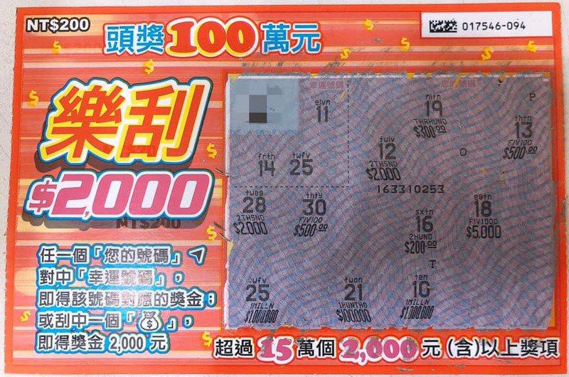 台南市永康區的金鑽彩券行在臉書粉絲團貼出這張中獎刮刮樂。圖/取自金鑽彩券行臉書粉絲團