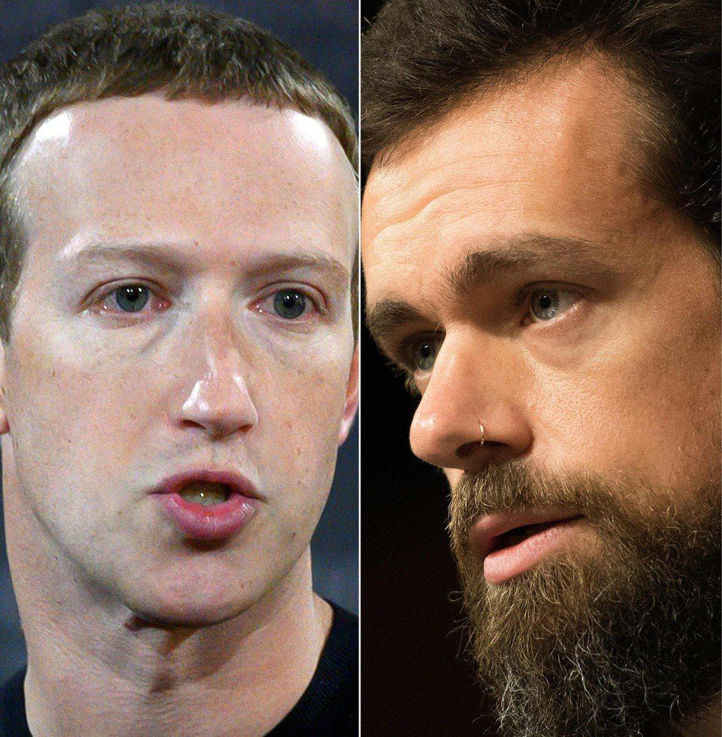 臉書執行長祖克柏(圖左)和推特執行長多西(圖右)11月17日將自願出席國會聽證會...