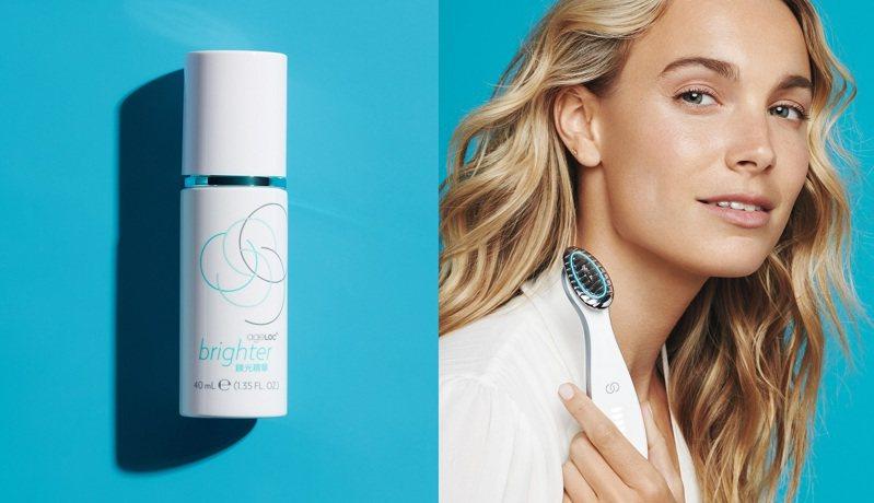 NU SKIN「ageLOC brighter鎂光組」,以鎂光精華搭配鎂光機的1+1設計,訴求每天早晚2分鐘的護膚保養,特別加強精華液護膚步驟,可養出白Q美的無瑕美肌。 圖/NU SKIN提供