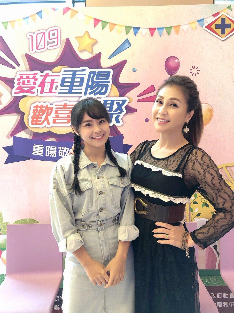 梁佑南(右)帶女兒方琦出席公益活動。圖/民視提供