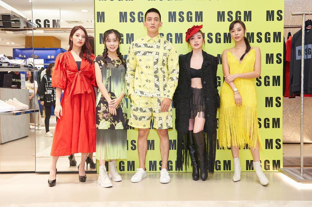 康茵茵(右起)、許維恩、王家梁、高妍妍、李家儀出席時尚活動。圖/MSGM 、維恩