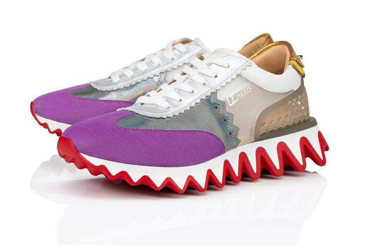 全球限量600雙的紫灰色Loubishark異材質拼接球鞋,34,900元。圖/...