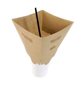 逸昇設計旗下「to go餐飲外帶裝家」系列產品之一「杯頂盒」,可讓爆米花、炸雞和...