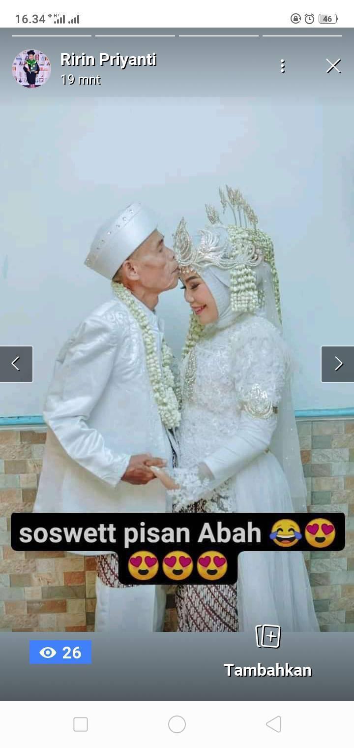 參加婚禮的親友在臉書上分享71歲薩爾納親吻18歲諾妮的照片。圖/取自網路