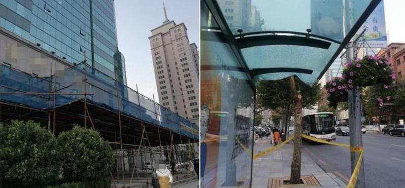 前大陸一棟大廈頂樓的避雷針突然掉落,不幸砸到了樓前公車站正在等公車的女子。圖擷自半島晨報