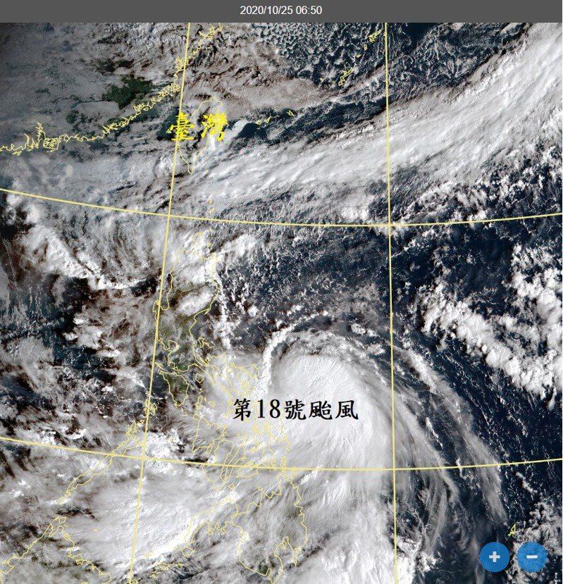 原位於菲律賓東方海面的熱帶性低氣壓,今天凌晨2時增強為第18號颱風莫拉菲。圖/取自鄭明典臉書