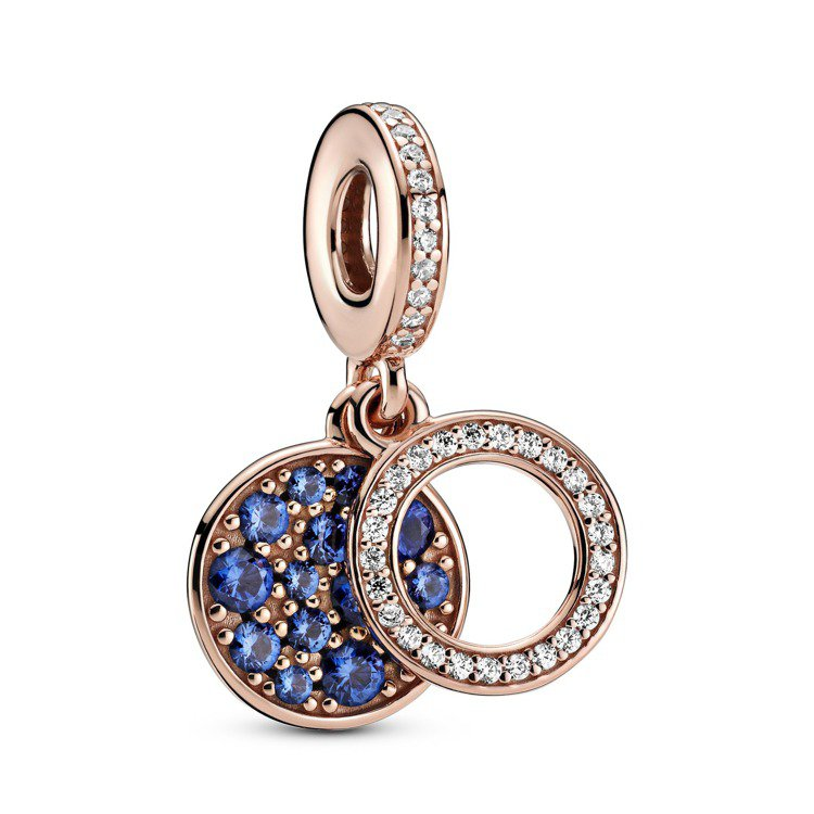 Pandora Rose閃耀恆星藍水晶吊飾,2,880元。圖/Pandora提供