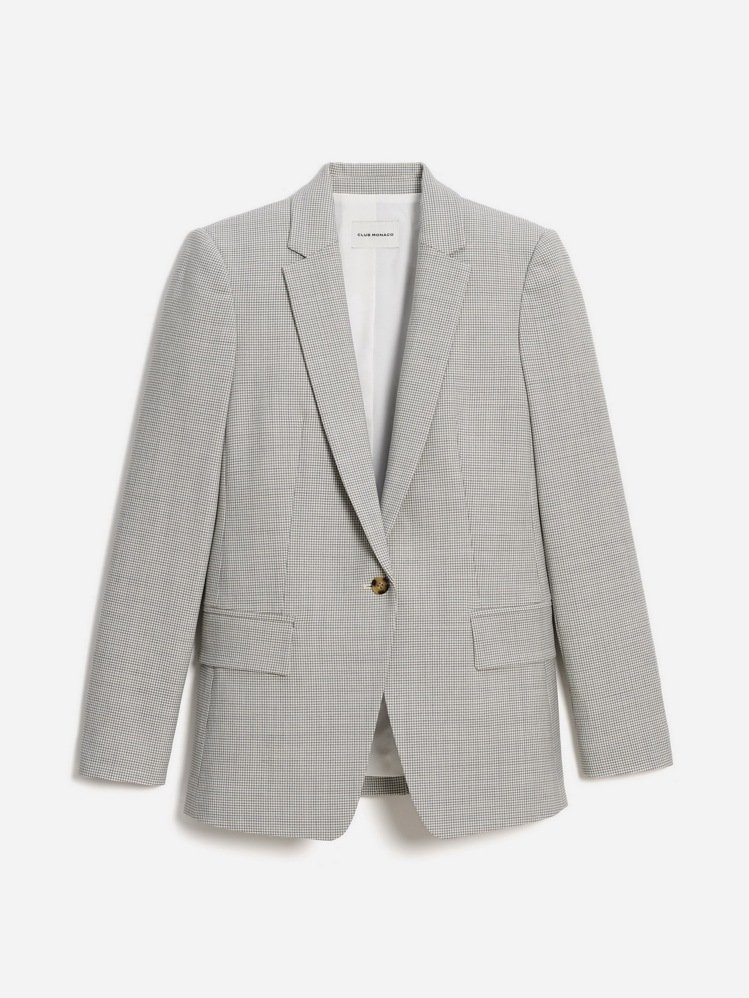 細格紋女版西裝外套,13,900元。圖/Club Monaco提供
