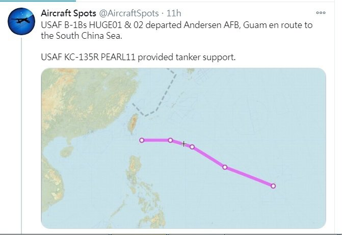 專門記錄軍事飛行器動態的推特帳號「飛機守望(Aircraft Spots)」今天...