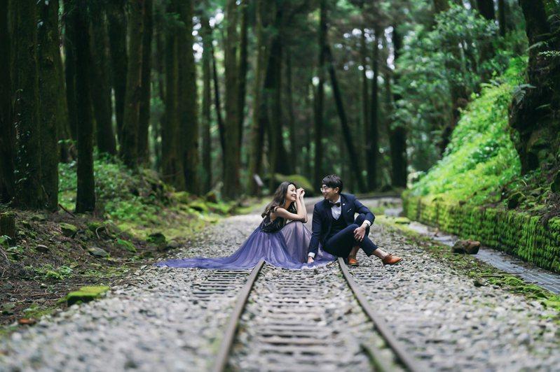 第14屆「阿里山神木下婚禮」今日舉行,在主辦單位、在地代表等來賓及親人祝福下,完成浪漫滿分的證婚儀式。 圖/觀光局阿管處提供