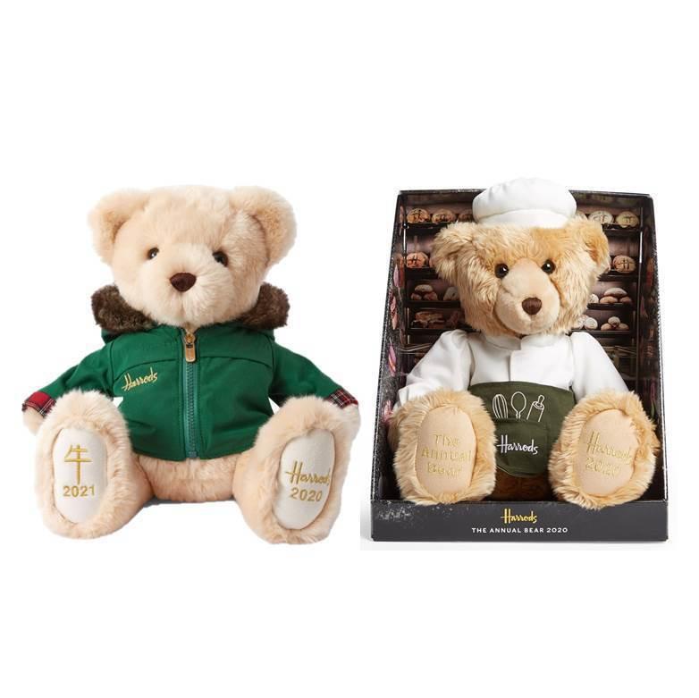 2020年度雙熊限定組跨年年度熊「尼可拉斯」、精裝熊「烘焙熊 」原價4,160元,特價3,800元,全台限量100組。圖/新光三越Harrods提供