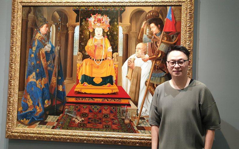 盧昉畫作「我們都愛珍奶」,畫中的中西神明人手一杯珍奶。記者陳宛茜/攝影