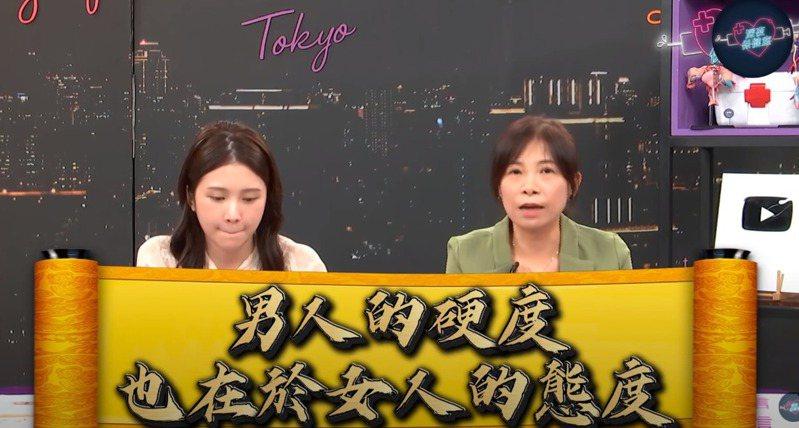 雞排妹(鄭家純)性治療師童嵩珍,解答網民留言提出的性事問題。(「深夜保健室」授權)