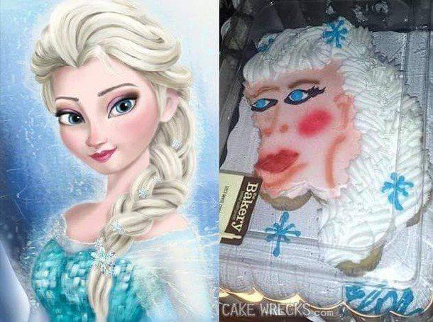 艾莎公主的造型蛋糕。圖擷自reddit論壇
